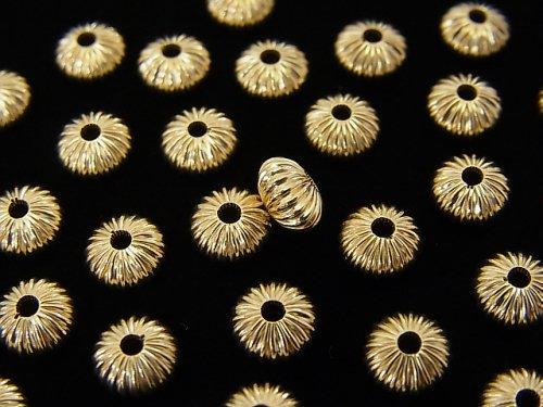 【K14 Yellow Gold】 ライン入りロンデル【3.5mm】【6mm】 1粒