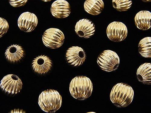 【K14 Yellow Gold】 ライン入りラウンド(コルゲートビーズ) 【4mm】【5mm】【6mm】 1粒