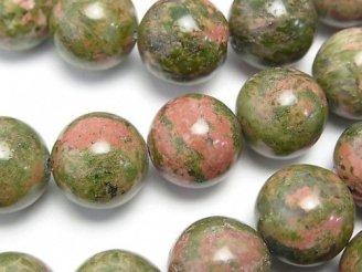 天然石卸 ユニカイト(ユナカイト) ラウンド14mm 半連/1連(約36cm)
