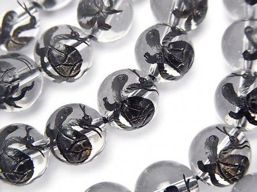 黒色!玄武(四神獣)の彫刻入り!クリスタルAAA ラウンド10・12・14・16mm 1/4連〜1連