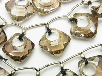 天然石卸 宝石質スモーキークォーツAAA ドーナツ型ダイヤカット 1粒・1連(7粒)