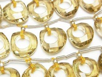 天然石卸 宝石質レモンクォーツAAA ドーナツ型マロンカット 1粒・1連(7粒)