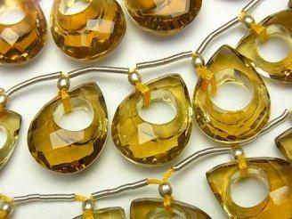 天然石卸 宝石質ビアクォーツAAA ドーナツ型ペアシェイプカット 1粒・1連(7粒)