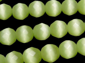 天然石卸 1連480円!ライトグリーンカラーキャッツアイ 32面ラウンドカット10mm 1連(約34cm)
