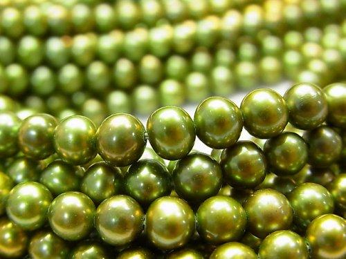 淡水真珠AAA ポテト5mm メタリックグリーン 1連(約37cm)