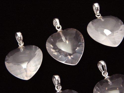1個1,180円!宝石質ローズクォーツAAA ハート型ペンダントトップ18×18×8 Silver925製 1個