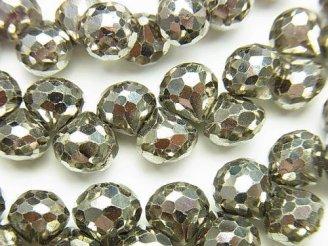 天然石卸 宝石質パイライトAAA オニオン ブリオレットカット 1/4連〜1連(約18cm)