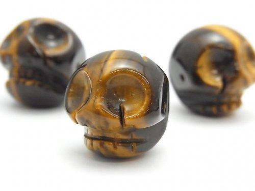 【粒売り】イエロータイガーアイAAA- 大粒スカル(ドクロ)横穴20mm 1粒