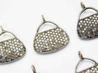 天然石卸 ダイヤモンド ハンドバック(鞄)モチーフ チャーム14×16×2 Silver925製 1個7,980円!