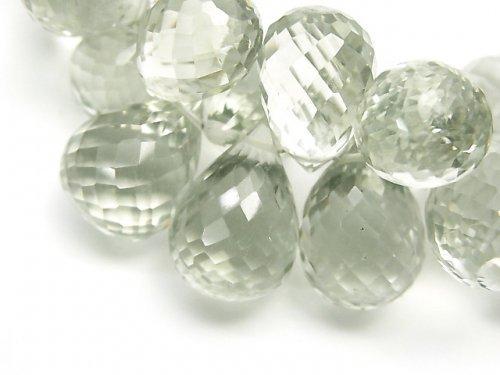 【1点もの】宝石質グリーンアメジストAAA ドロップ ブリオレットカット 1連(約18cm) NO.3