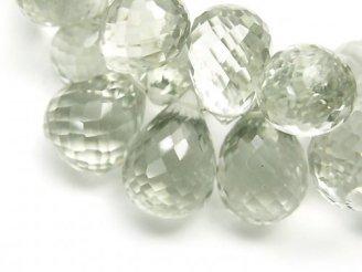 天然石卸 1点もの!宝石質グリーンアメジストAAA ドロップ ブリオレットカット 1連(約18cm) NO.3