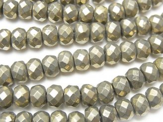天然石卸 ゴールデン パイライトAAA ボタンカット6×6×4mm 半連/1連(約38cm)