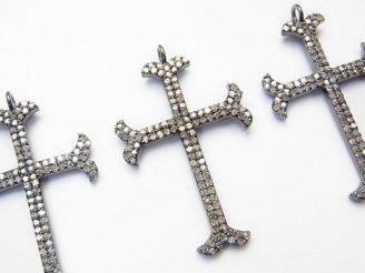 天然石卸 ダイヤモンド クロス チャーム 33×22×2 Silver925製(BKロジウム) 1個11,800円!