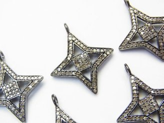 天然石卸 ダイヤモンド スター(星)モチーフ チャーム 21×21×2mm Silver925製(BKロジウム) 1個!