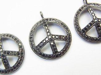 天然石卸 ブラックダイヤモンド ピースマークチャーム 18×18×2 Silver925製(BKロジウム) 1個!
