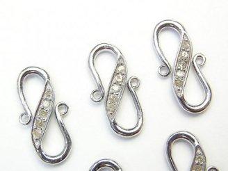 天然石卸 ダイヤモンド S字フック 20×10×2 Silver925製(ロジウム) 1個!