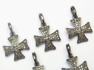 天然石卸 ダイヤモンド クロス チャーム 13×13×1.5 Silver925製(BKロジウム) 1個!
