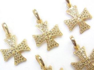 天然石卸 ダイヤモンド クロス チャーム 13×13×1.5 Silver925製(18KGP) 1個3,980円!