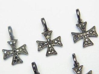 天然石卸 ブラックダイヤモンド クロス チャーム 13×13×1.5 Silver925製(BKロジウム) 1個!