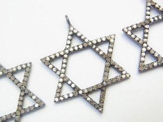 天然石卸 ダイヤモンド 六芒星(スター)モチーフ チャーム 27×24×2mm Silver925製(BKロジウム) 1個!
