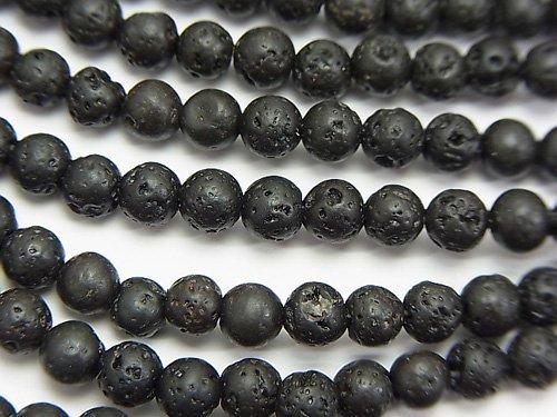 ブラックラバー(溶岩) ラウンド4〜5mm 1連(約37cm)