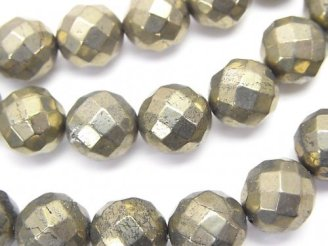 天然石卸 ゴールデン パイライトAAA 64面ラウンドカット10mm 半連/1連(約38cm)