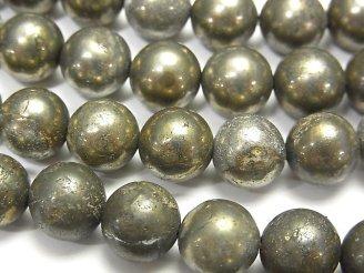 天然石卸 1連880円!ゴールデンパイライトAAA ラウンド10mm 1連(約38cm)