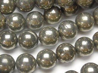 天然石卸 ゴールデンパイライトAAA ラウンド12mm 半連/1連(約38cm)