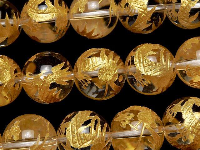 金色!青龍(四神獣)の彫刻入り!クリスタルAAA ラウンド10・12・14・16mm 半連/1連
