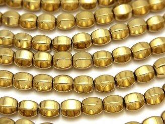 天然石卸 1連680円!ヘマタイト 6面ラウンドカット6×6×6mm  ゴールドコーティング 1連(約35cm)