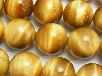 天然石卸 ゴールデンタイガーアイAAA- ラウンド18mm 1/4連〜1連(約37cm)