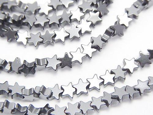 ヘマタイト ★スター(星)4×4×2mm  1連(約38cm)