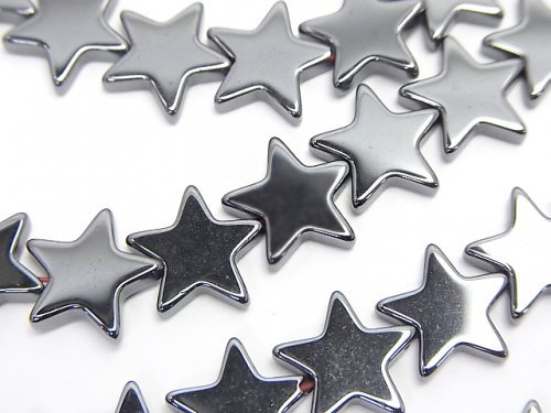 【値下成功】ヘマタイト ★スター(星)10×10×3mm  1連(約38cm)