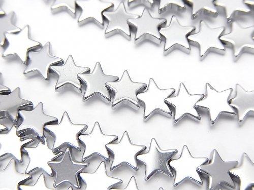 ヘマタイト ★スター(星)6×6×2mm  シルバーコーティング 1連(約38cm)