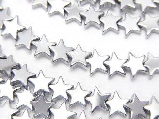 天然石卸 1連480円!ヘマタイト ★スター(星)6×6×2mm  シルバーコーティング 1連(約38cm)
