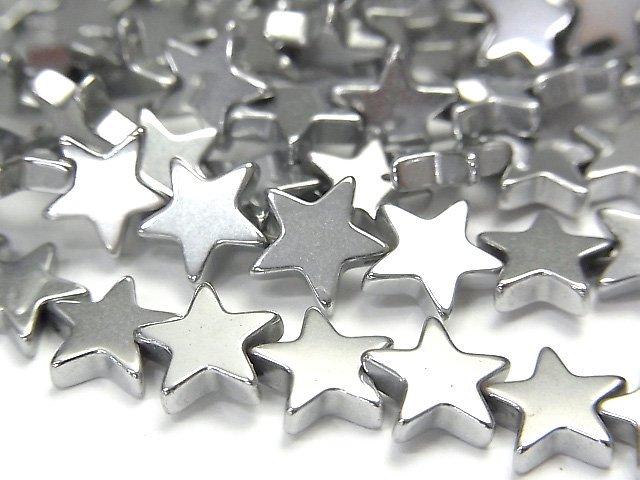 【動画】ヘマタイト ★スター(星)8×8×2mm  シルバーコーティング 1連(約38cm)