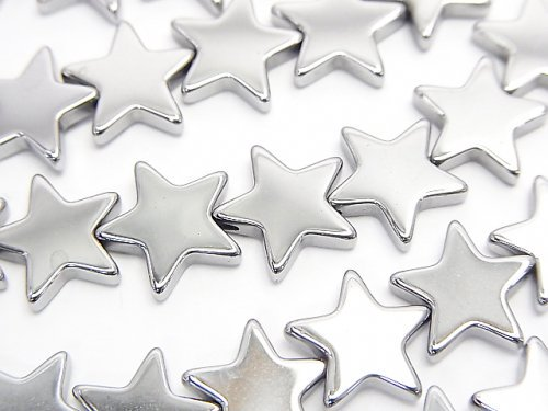 ヘマタイト ★スター(星)10×10×2mm シルバーコーティング 1連(約38cm)