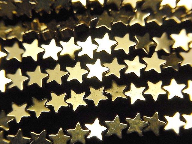 ヘマタイト ★スター(星)4×4×2mm  ゴールドコーティング 1連(約37cm)