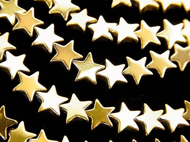 ヘマタイト ★スター(星)6×6×2mm  ゴールドコーティング 1連(約37cm)