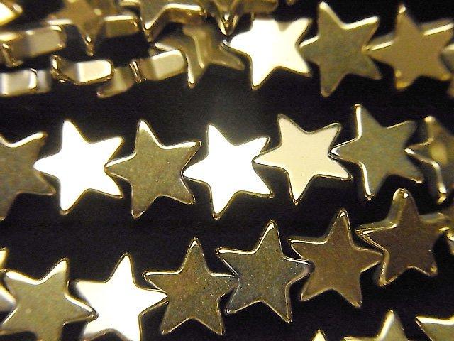 ヘマタイト ★スター(星)8×8×2mm  ゴールドコーティング 1連(約36cm)