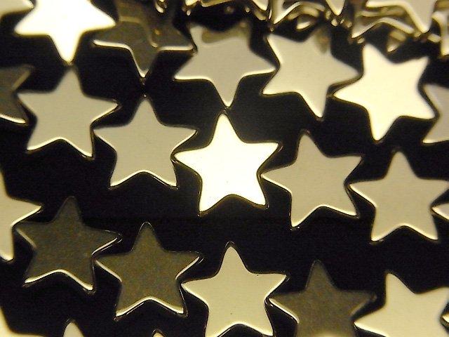 ヘマタイト ★スター(星)10×10×2mm  ゴールドコーティング 1連(約37cm)