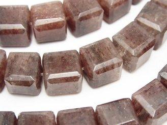 天然石卸 モスコバイト キューブカット12×12×12mm 半連/1連(約38cm)