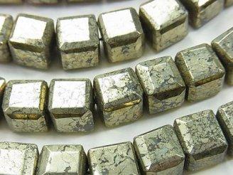 天然石卸 パイライト キューブカット10×10×10mm 半連/1連(約38cm)
