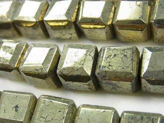 天然石卸 パイライト キューブカット12×12×12mm 半連/1連(約38cm)