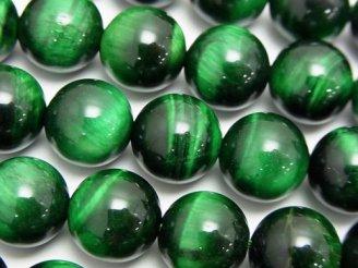 天然石卸 グリーンカラータイガーアイAAA- ラウンド12mm 半連/1連(約37cm)