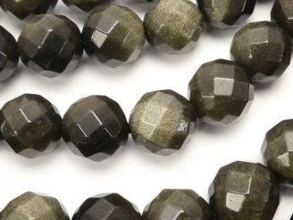 天然石卸 1連980円!ゴールデンシャインオブシディアン 64面ラウンドカット10mm 1連(約38cm)