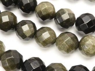 天然石卸 ゴールデンシャインオブシディアン 64面ラウンドカット12mm 半連/1連(約38cm)