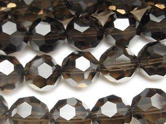 天然石卸 希少品!スモーキークォーツAAA+ 「バッキーボール」ラウンドカット12mm 1/4連〜1連(約36cm)