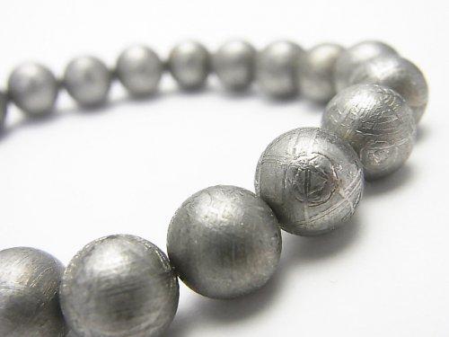 ◆特価◆【1点もの】メテオライト(ムオニナルスタ隕石) ラウンド10mm ナチュラルカラー 1連(ブレス) NO.24