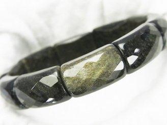 天然石卸 ゴールデンシャインオブシディアンAAA 2つ穴横長レクタングルカット22×12×8mm 1連(ブレス)